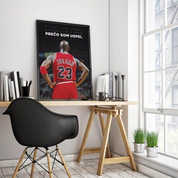 Motivačný plagát Michael Jordan s fotkou legendárneho basketbalistu