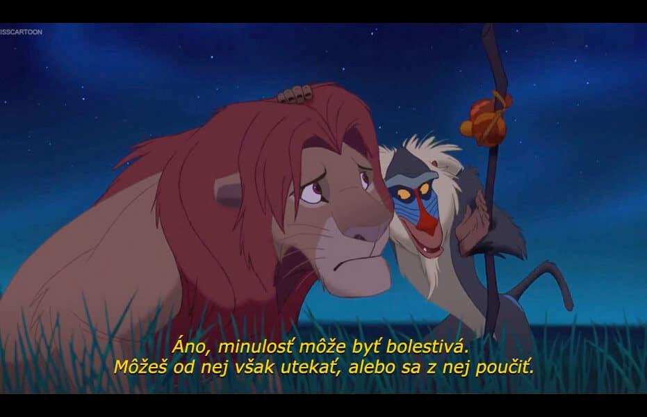Filmový citát múdreho Rafikiho z filmu Leví kráľ